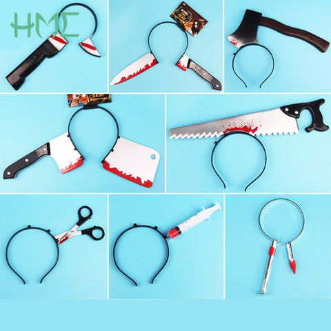 Funny Scary Toys Halloween Perform Props Axe Saw Nail Knife Headwear Fake Blood Scene Halloween Props - Shopatronics