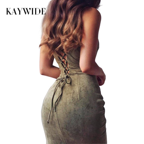 KAYWIDE 2017 Women Dresses Series Spring Suede Fashion Hollow Out Summer Solid Bodycon Midi Dress - Shopatronics