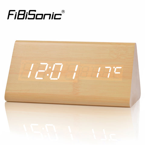 Wooden Digital LED Alarm Clock, Sound Control Desktop Clocks - Temperature,Electronic Display Home Decor