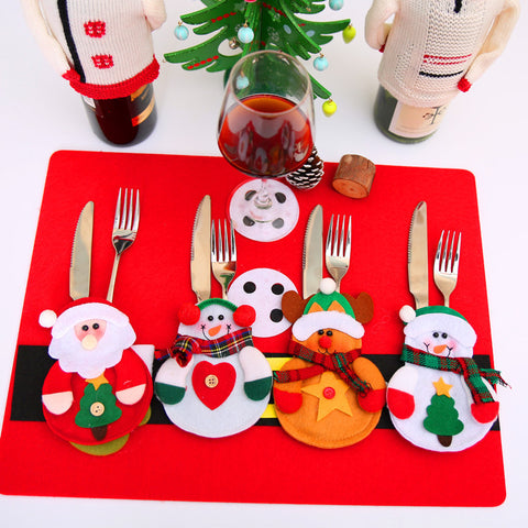 12 pcs Christmas Decoration 2017 Cutlery Suit Silverware Holders Pockets Knifes Forks Bag