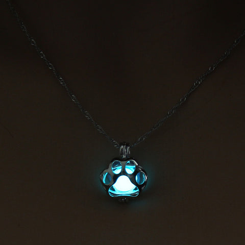 Glow in the Dark Necklace Dog Paw Silver Chain Jewelry Pendants & Necklaces - Shopatronics
