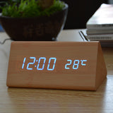 Wooden Digital LED Alarm Clock, Sound Control Desktop Clocks - Temperature,Electronic Display Home Decor - Shopatronics