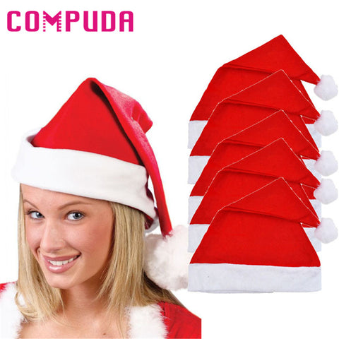Santa Claus Holidays Christmas Hats 5pcs Adult Unisex Adult Xmas Red Cap