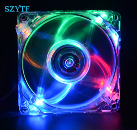 PC Computer Fan Case Cooling Fan Unit fan 8025 8cm with LED lights chassis fan  80*80*25 - Shopatronics