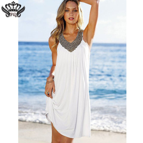 Summer Beach Cotton Dresses Women Sexy Evening Party Boho Dress V Neck Backless Sleeveless Diamond Dress - Shopatronics