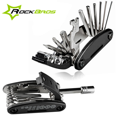 ROCKBROS Mini Multifunction Bicycle Repair Stand Tool 16 in 1 Kit Mountain Tools Bike Cycling Folding Screwdriver Hexagon Wrench - Shopatronics
