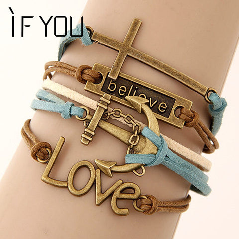 IF YOU Charm Vintage Multilayer Charm Leather Bracelet Women Owl Cross Believe Bracelets