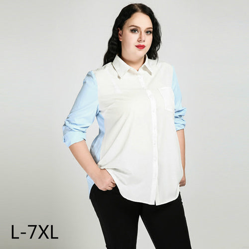4xl 5xl 6xl 7xl Women Shirts And Blouses Plus Sizeoffice Lady Blusas Long Sleeve Top Women Blue White Button Up Turn-down Collar - Shopatronics - One Stop Shop. Find the Best Selling Products Online Today