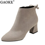 Woman Flock Suede Leather Boots Ladies Thick High Heel Ankle Boots Party Shoes Size 34-45 - Shopatronics