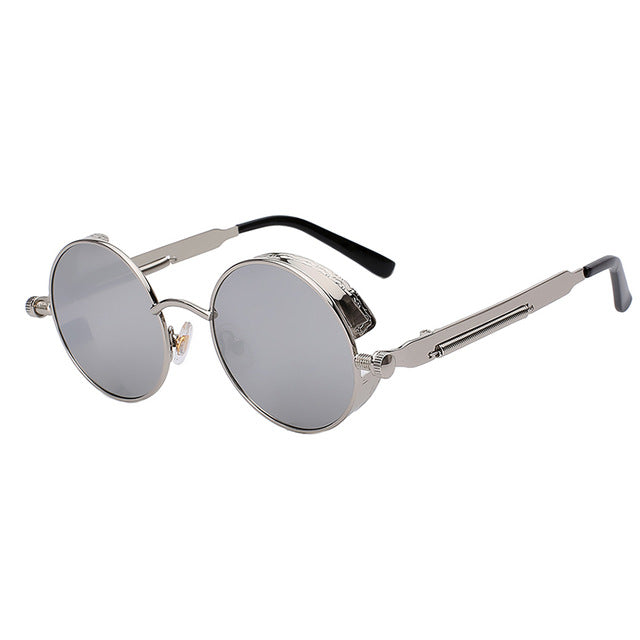 Mirror Lens Round Glasses Goggles Steampunk Sunglasses Vintage Retro For men and women - Shopatronics