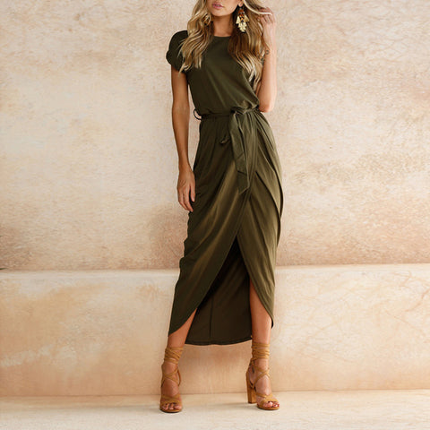 6 Colors Sexy Summer Dress Lady Outfit High Split Casual Long Maxi Dress Solid Women's Retro Dresses With Belt Vestidos - Shopatronics - One Stop Shop. Find the Best Selling Products Online Today