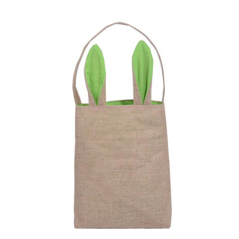 Easter Bunny Bags Dual Layer Rabbit Ears Design Basket Jute Cloth Material Tote Bag Carrying Eggs/Gifts Box for Easter/Party - Shopatronics