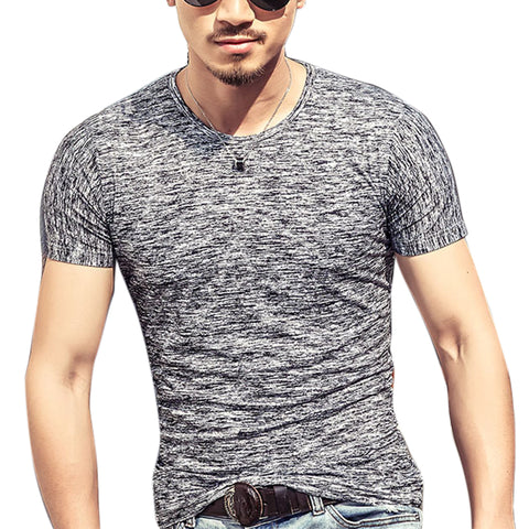 Men O-neck Elastic Cotton Comfortable Top Tee Man T-shirt Casual Short Sleeve - Shopatronics