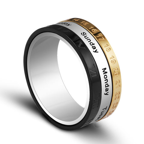 Titanium Steel Tricolor Calendar Time Men's Fashion Jewelry Band Gift Time to turn the ring - Shopatronics