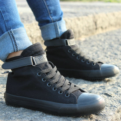 New Spring/Summer Men Casual Shoes Breathable Black High-top Lace-up Canvas Shoes - Shopatronics
