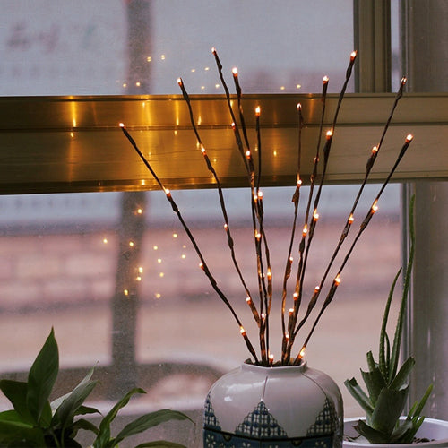 LED Willow Branch Lamp Floral Lights 20 Bulbs Home Christmas Party