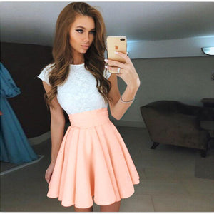 Lace Dress Beach Summer Women Dress 2018 Cute Flare Belt Short Sleeve Dresses - Shopatronics