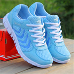 Women casual shoes fashion breathable Walking mesh lace up flat sneakers - Shopatronics