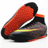 MAULTBY Men's Black Orange High Ankle AG Sole Outdoor Cleats Football Boots Shoes Soccer Cleats #SS3008B - Shopatronics