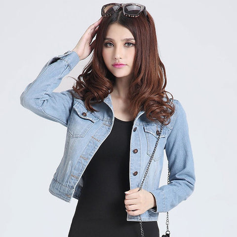 New fashion jeans Jackets Denim Women slim cotton solid Jacket