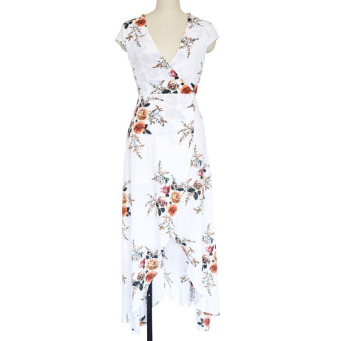 Long Summer Beach Dress Women Sexy Deep V Floral Chiffon Maxi Dress Front Split - Shopatronics
