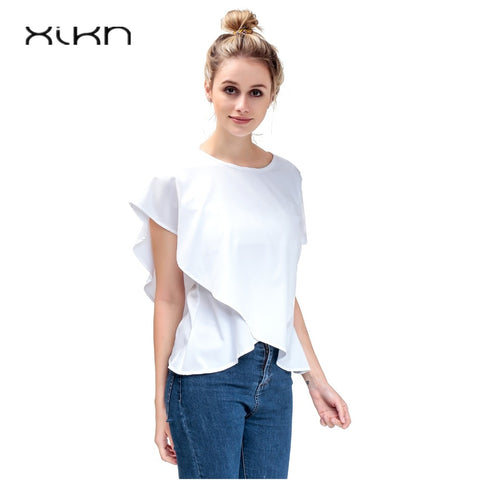 Short Sleeve White Chiffon Blouses Free 2-7 Day Shipping