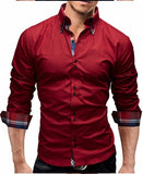 New Brand Business Men Slim Fit Dress Shirt Male Long Sleeves Casual Shirt Size M-3XL - Shopatronics