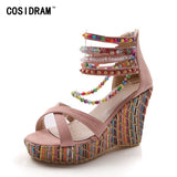 Woman Sandals Shoes Bohemian Sandals Comfortable Sweet Wedge Heels Shoes for Girls - Shopatronics