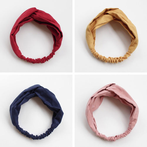 Women Spring Suede Soft Solid Headbands Vintage Cross Knot Elastic Hairbands Bandanas