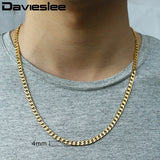Men Necklace Gold Filled Curb Cuban Link Gold Chain Necklaces