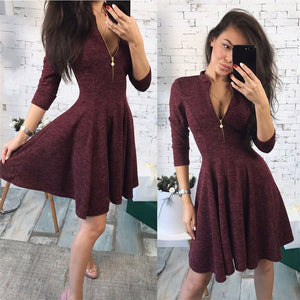 Women Bust Zippers Dress Solid Pleated V-neck Sexy Ladies Dresses Evening Party Mini Dress