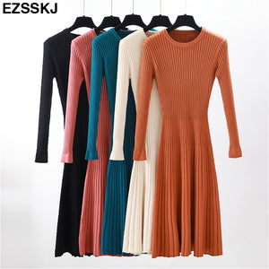 Winter Thick A-line Dress Slim Female Jumper