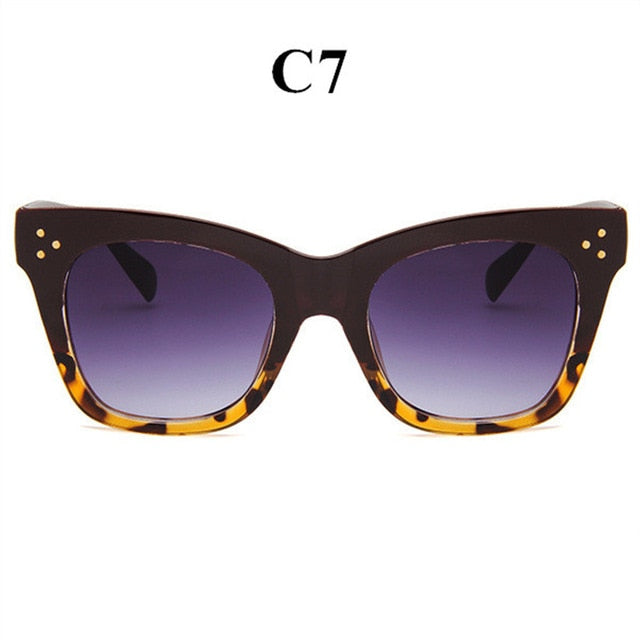 Classic Cat Eye Sunglasses Women Vintage Over-sized Gradient Sunglasses