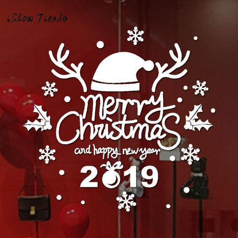 New Year Merry Christmas Wall Sticker Home Shop Windows Decals Free 2-7 Day Shipping