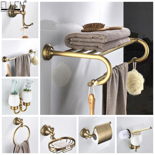 Bathroom Accessories Antique Bronze Towel Shelf Toilet Paper Holder Soap Holder