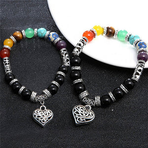 New Heart Pendant Chakra Bracelets For Women / Men
