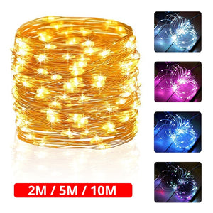 2M 5M 10M AA Battery String Lights Copper Wire LED Lights Decoration Party