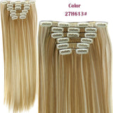 Hairpiece 23inch 140g Straight 16 Clips in False Hair Styling Synthetic Clip In Hair Extensions 6pcs/set Heat Resistant Hair Pad - Shopatronics
