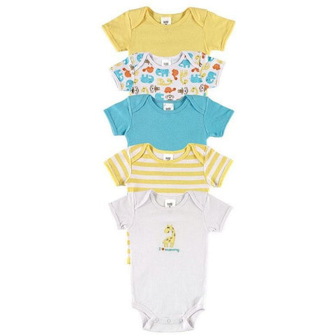 Luvable Friends 5pcs/ lot Baby Romper Hanging Blue Short Sleeve New Born Baby Body Infantil Boy/Girl Clothes Baby Clothing - Shopatronics