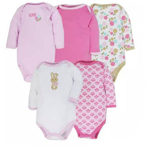 5pcs Lot New Styles Baby Rompers Long Sleeves Newborn Baby Clothes