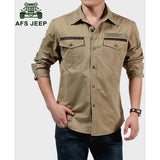 AFS JEEP M - 5XL 2016 Spring military quality men's casual brand army green shirts man autumn 100% cotton khaki black long shirt - Shopatronics - One Stop Shop. Find the Best Selling Products Online Today