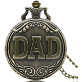 Antique Bronze Dad Pattern Quartz Pocket Watch with Necklace Fob Watch Father's Day Gift - Shopatronics - One Stop Shop. Find the Best Selling Products Online Today