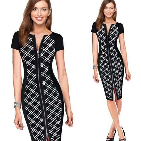 Vfemage Womens Sexy Elegant Optical Illusion Contrast Front Zipper Slim Casual Work Office Party Bodycon Sheath Dress 1950 - Shopatronics - One Stop Shop. Find the Best Selling Products Online Today