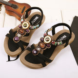 Women Rome Bohemia Flat Sandals String Beading Sweet  Women Shoes Open Toe Ankle Strap Women Summer Sandals XWF0404-5 - Shopatronics