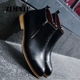 Men Boots Comfortable Black Winter Warm Waterproof Quality Fashion Ankle Boots Casual Men Leather Snow Boots Winter Shoes - Shopatronics