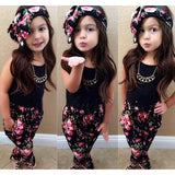 Summer style Girls Fashion floral casual suit children clothing set sleeveless outfit +headband 2015 summer new kids clothes set - Shopatronics - One Stop Shop. Find the Best Selling Products Online Today