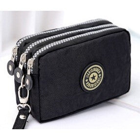 New fashion portable washed denim make-up  bag coin purse mini bag with three zipped   women wallets phone 16*9.5*5cm - Shopatronics