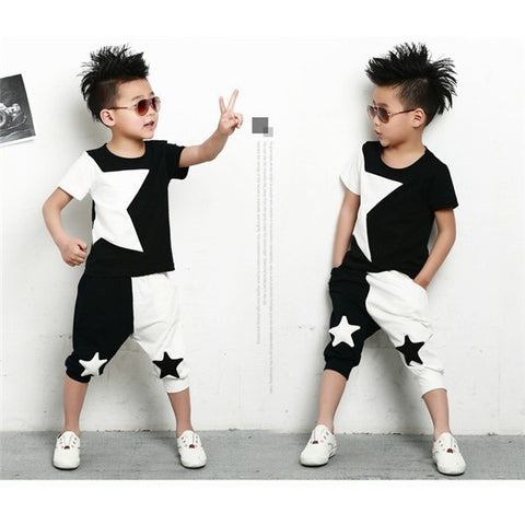NEW children clothing set stars boys set baby sets short t shirt+pants 2 pcs set clothes kids suit 2-7Years - Shopatronics - One Stop Shop. Find the Best Selling Products Online Today