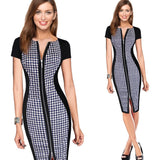 Vfemage Womens Sexy Elegant Optical Illusion Contrast Front Zipper Slim Casual Work Office Party Bodycon Sheath Dress 1950 - Shopatronics