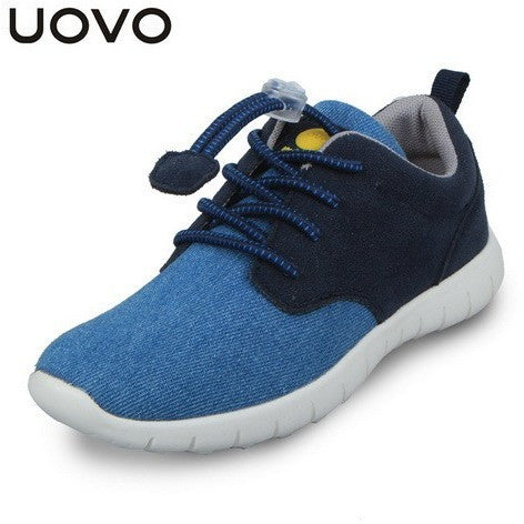 UOVO Light-weight Casual Sport Canvas Denim Elastic Lace Kids Boys Shoes Spring Footwear for Children Little Big Boys Sneakers - Shopatronics